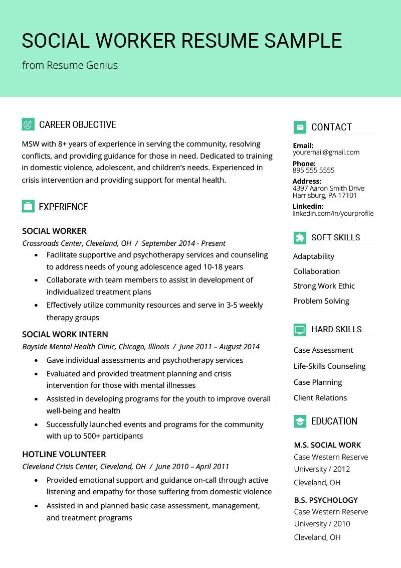 Social Work Resume Template social Work Resume Sample & Writing Guide