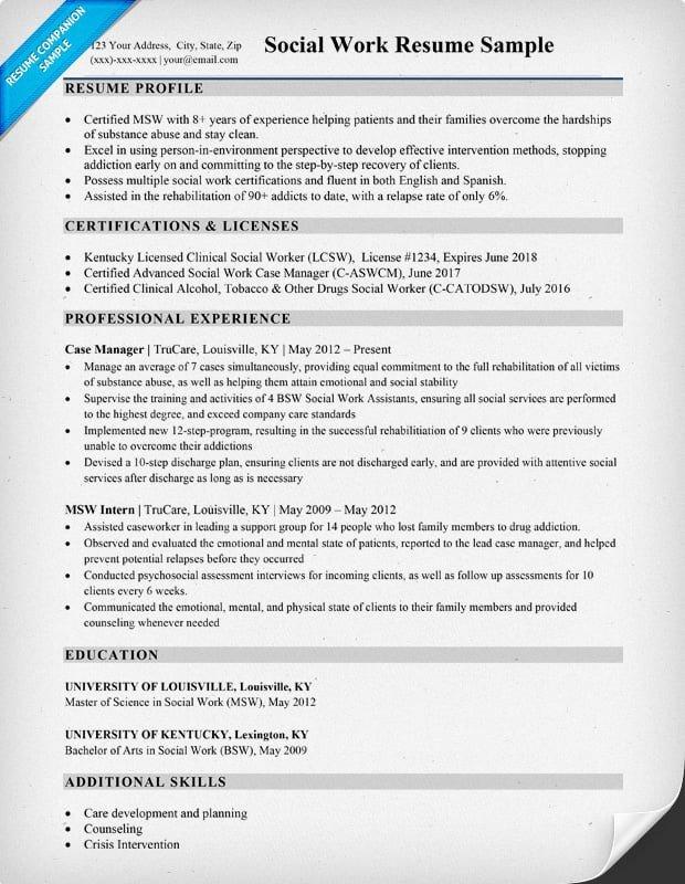 Social Work Resume Template social Work Resume Sample & Writing Tips