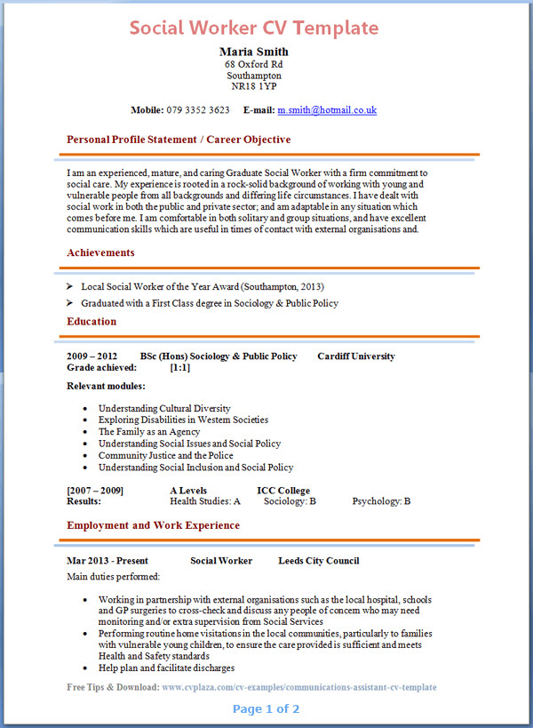 Social Work Resume Template social Worker Cv Example