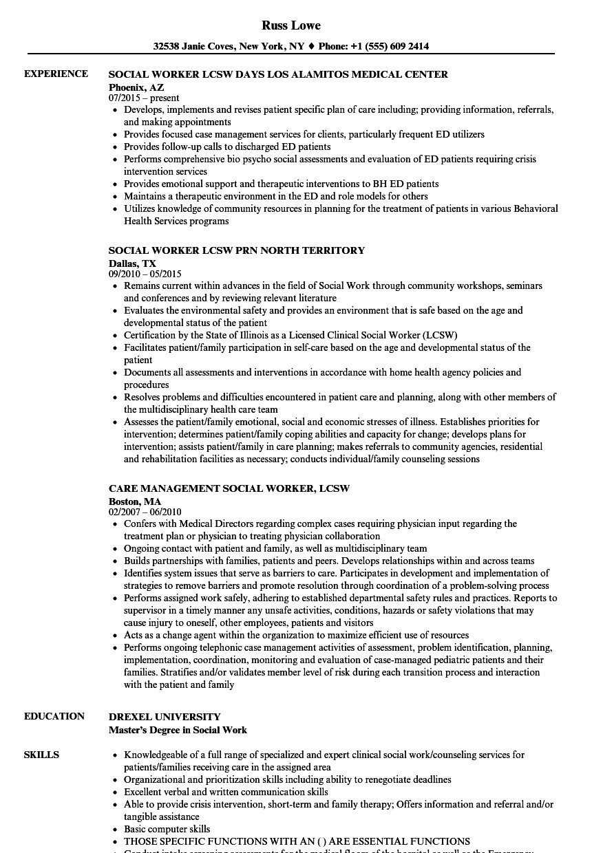 Social Work Resume Template social Worker Lcsw Resume Samples