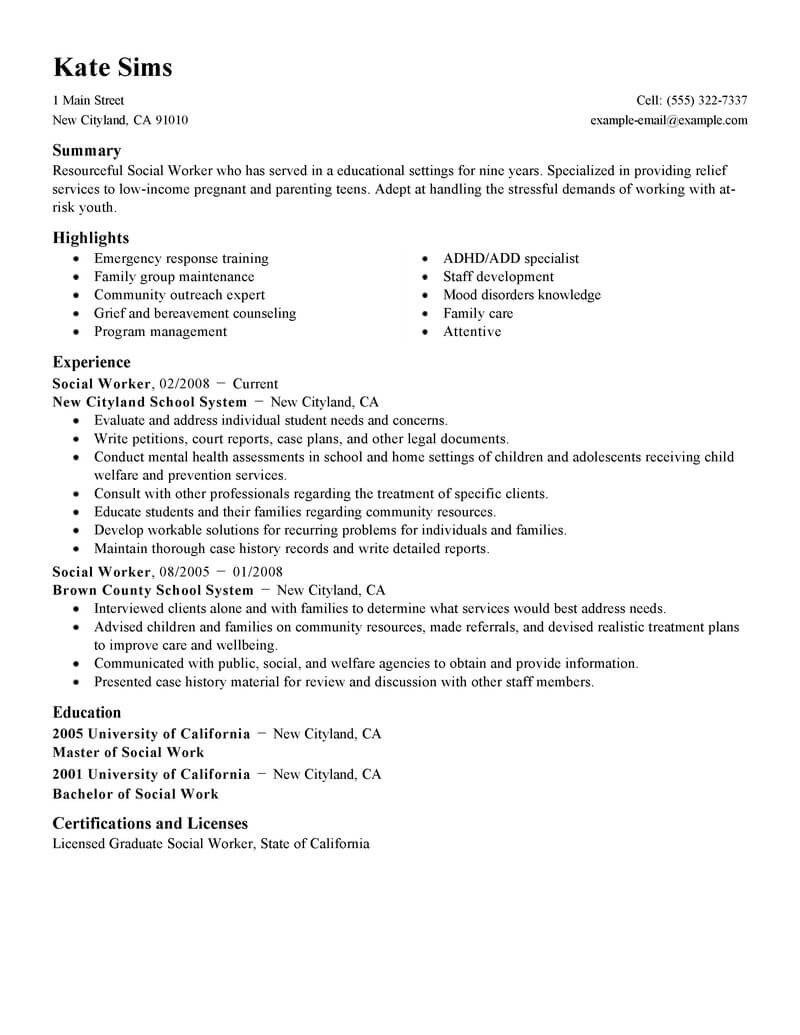 Social Worker Resume Templates Best social Worker Resume Example