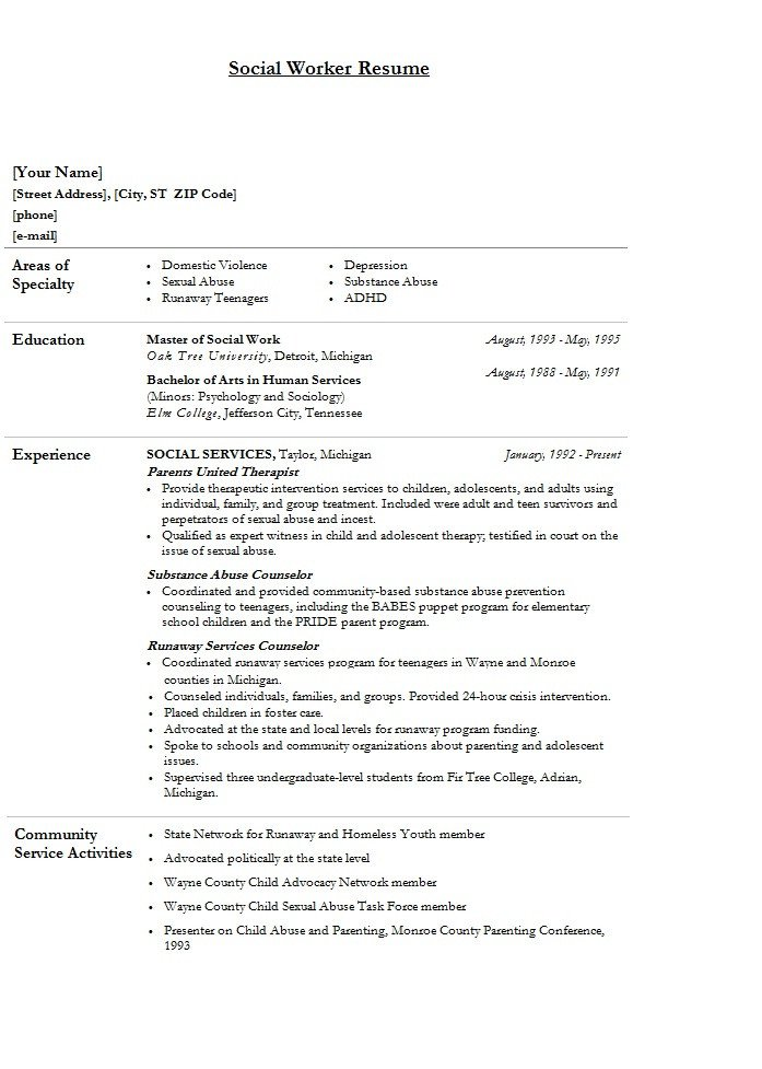 Social Worker Resume Templates Modern social Worker Resume Template Sample