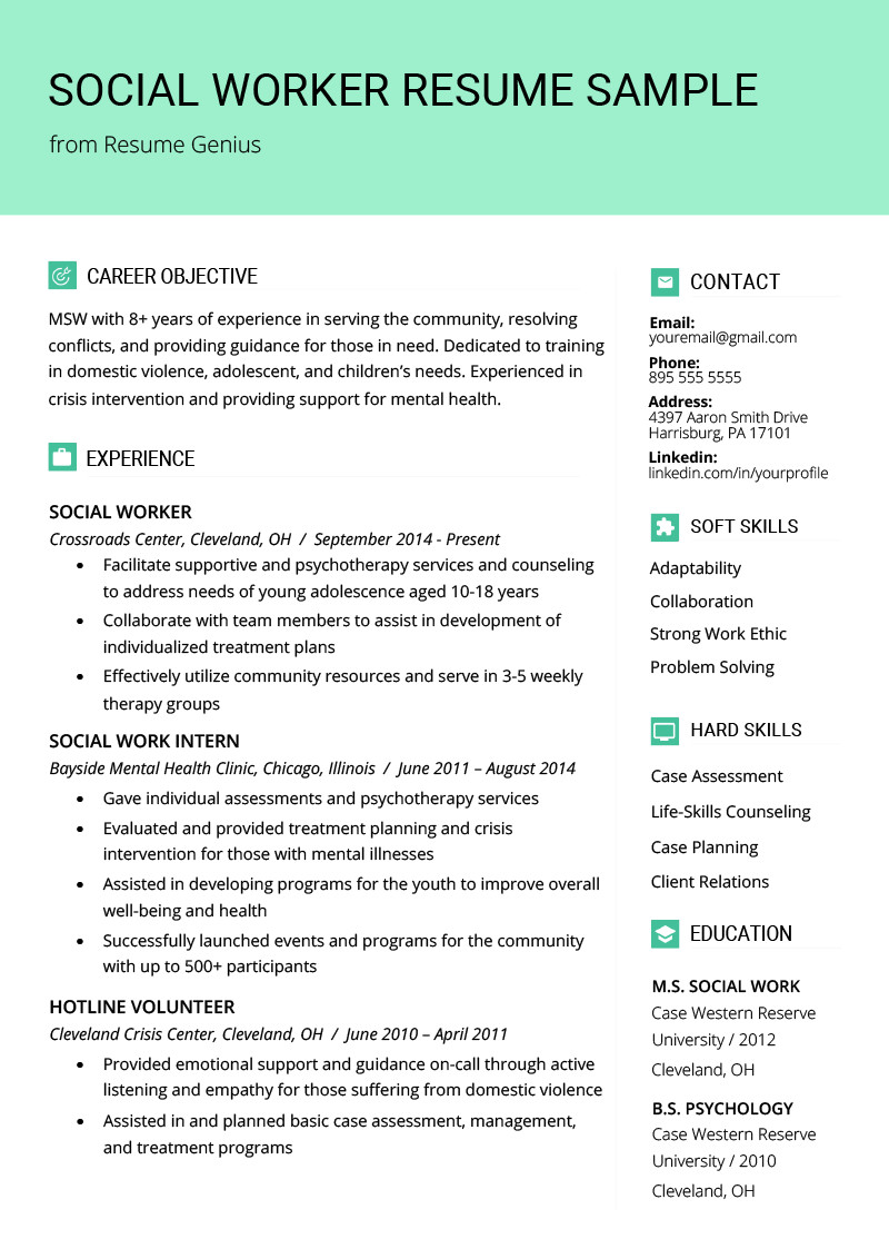 Social Worker Resume Templates social Work Resume Sample & Writing Guide