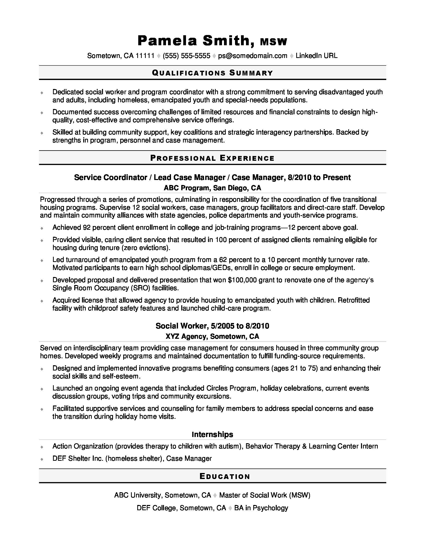Social Worker Resume Templates social Worker Resume Sample