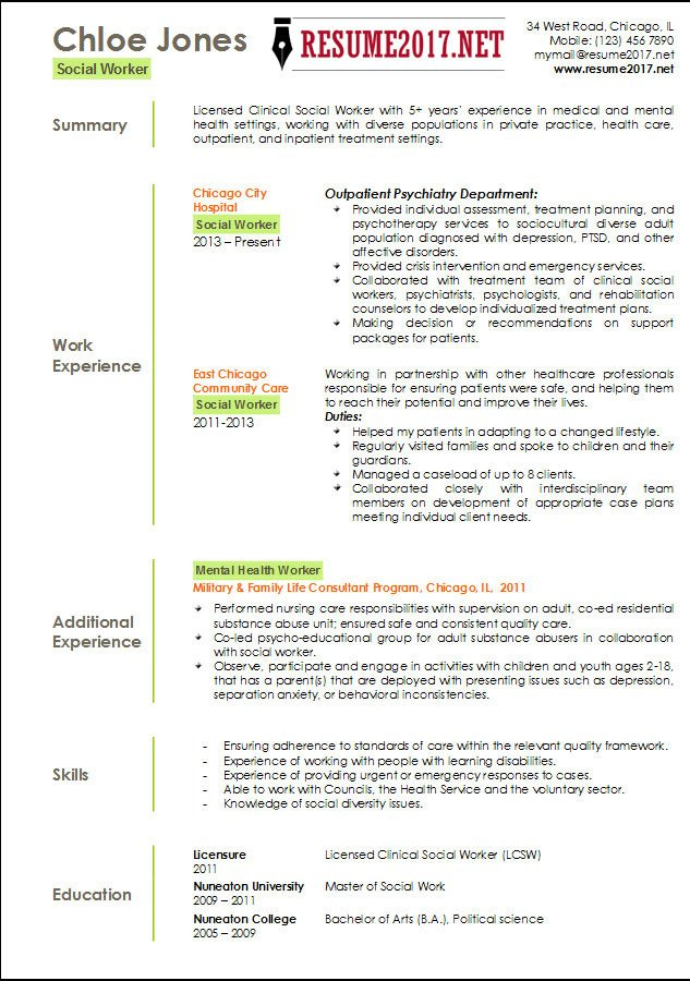 Social Worker Resume Templates social Worker Resume Template 2017