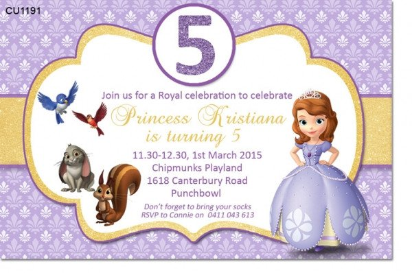 Sofia the First Invitation Templates Cu1191 sofia the First Birthday Party Invitation Girls