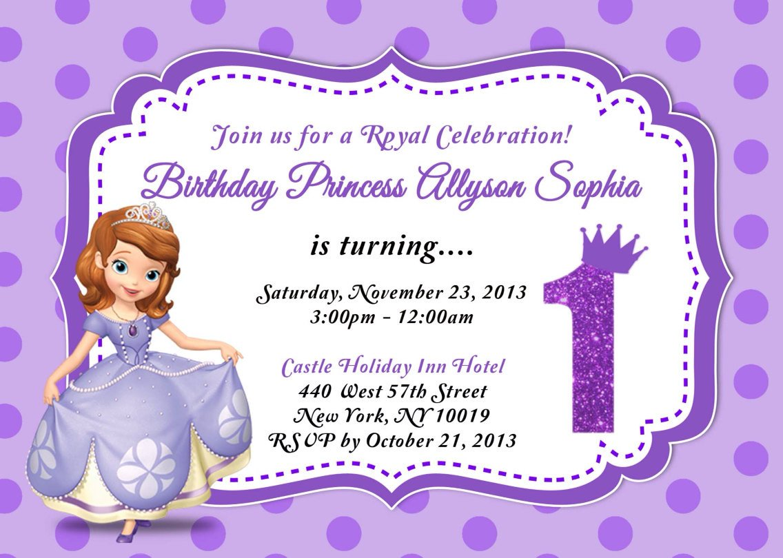 Sofia the First Invitation Templates Custom Photo Invitations sofia the First Birthday Invitation