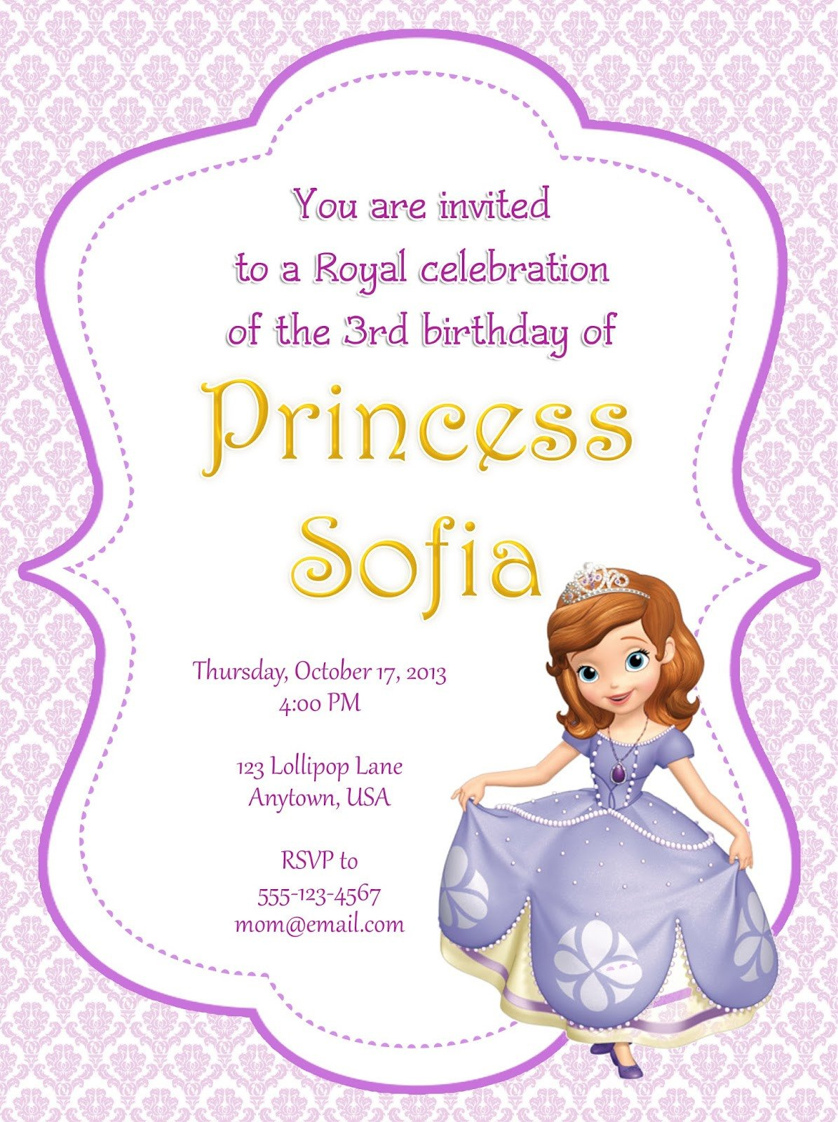 Sofia the First Invitation Templates I Make I August 2013