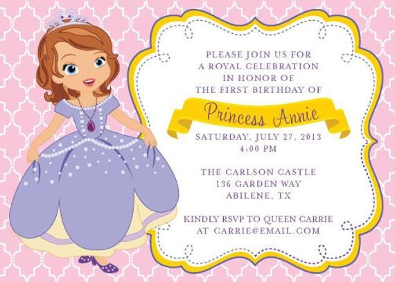 Sofia the First Invitation Templates Items Similar to Princess sofia the First Birthday