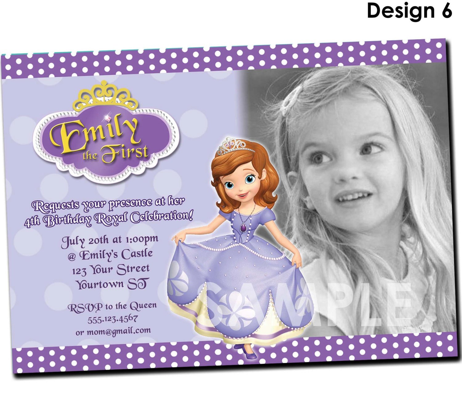 Sofia the First Invitation Templates Princess sofia Birthday Invitations Ideas – Bagvania Free