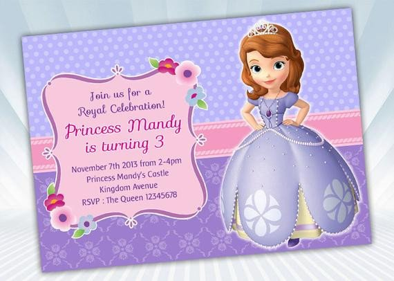 Sofia the First Invitation Templates Princess sofia Invitation