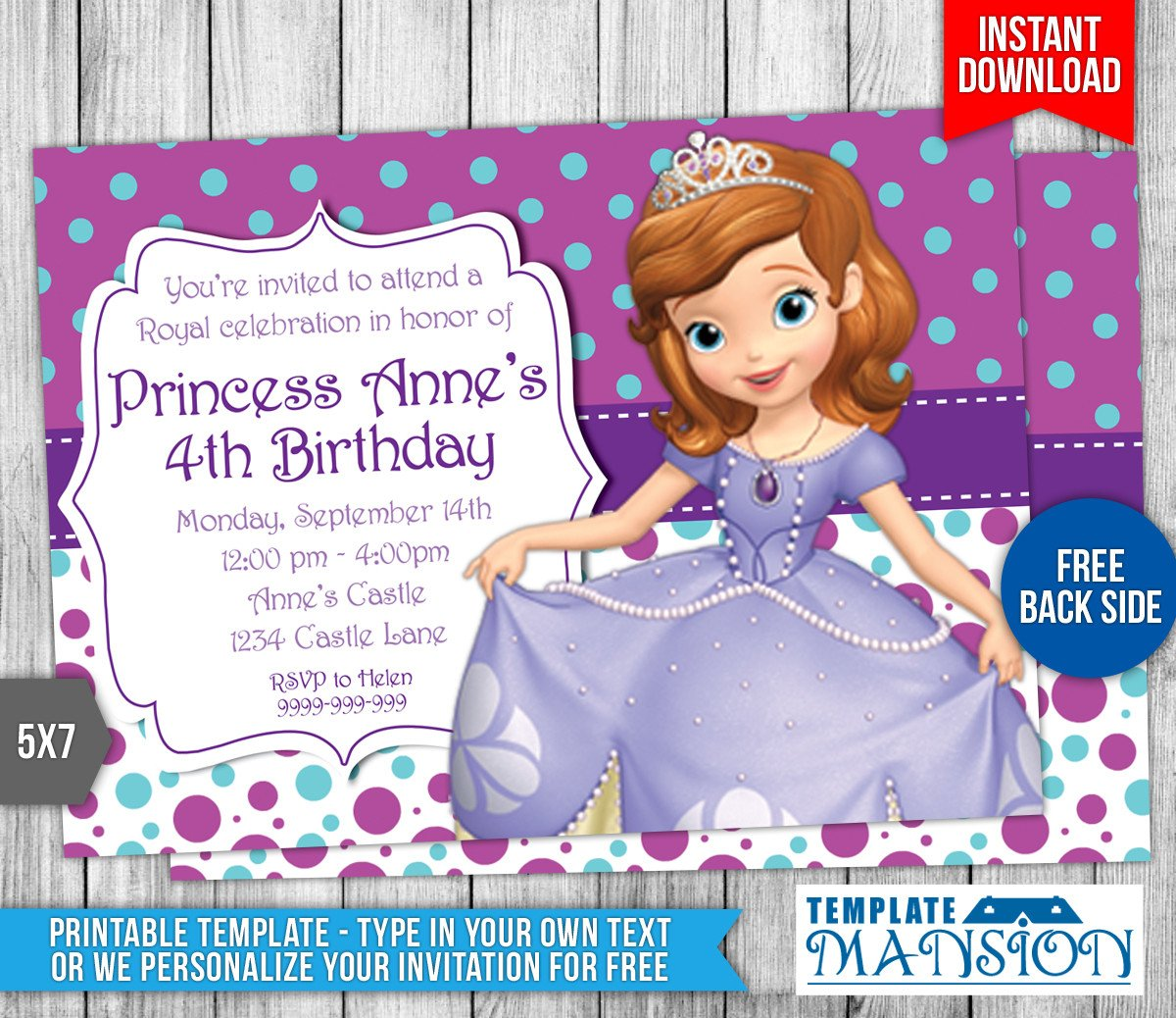 Sofia the First Invitation Templates sofia the First Birthday Invitation 4 by Templatemansion