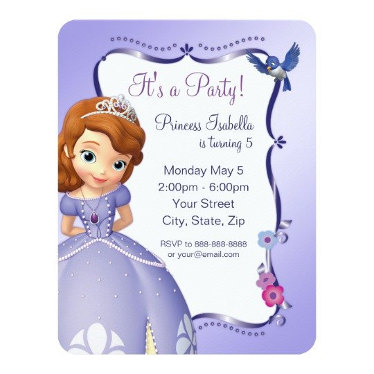 Sofia the First Invitation Templates sofia the First Birthday Invitation