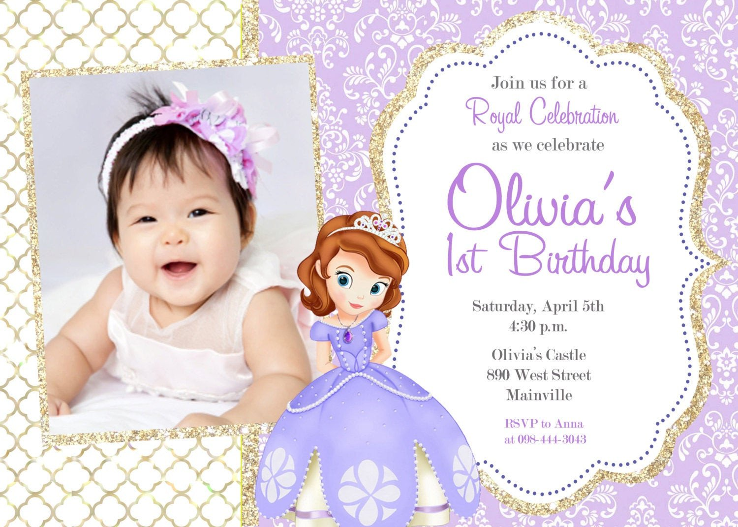Sofia the First Invitation Templates sofia the First Birthday Party Invitation Digital File