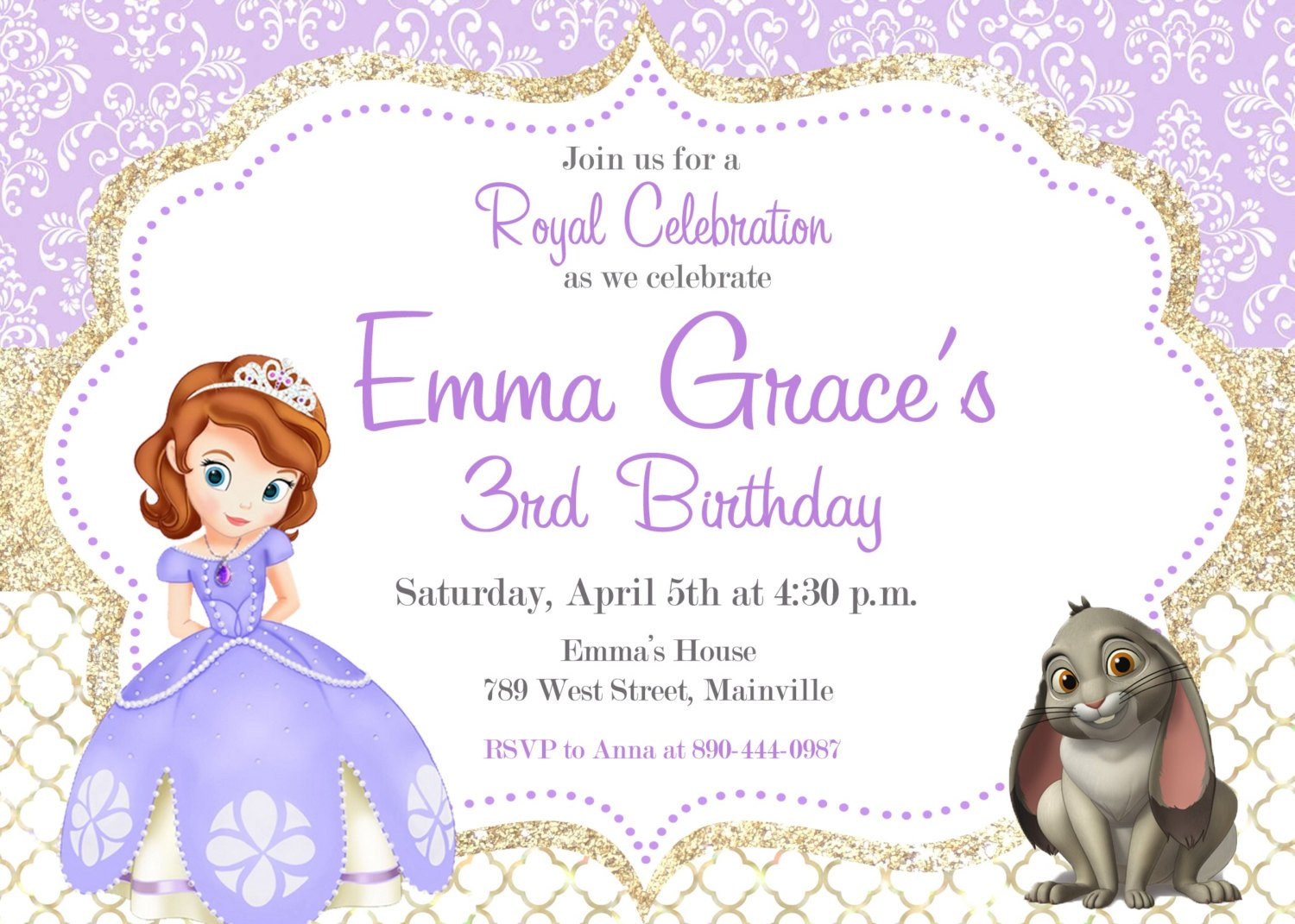Sofia the First Invitation Templates sofia the First Birthday Party Invitation Digital or