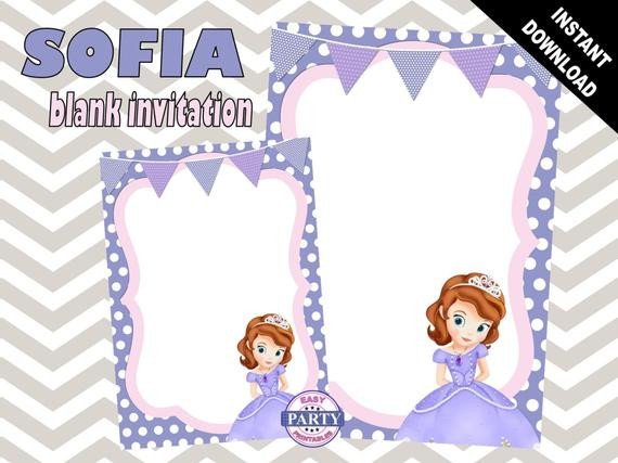 Sofia the First Invitation Templates sofia the First Blank Birthday Invitation Template Purple
