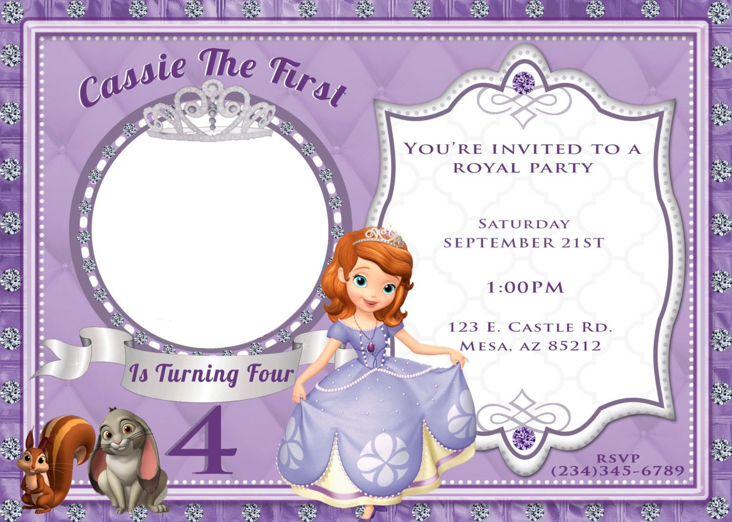 Sofia the First Invitation Templates sofia the First Invitation by 4evrdesignsbykristyn On Etsy