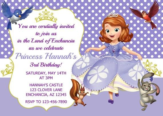 Sofia the First Invitation Templates sofia the First Invitation Princess sofia Invitation