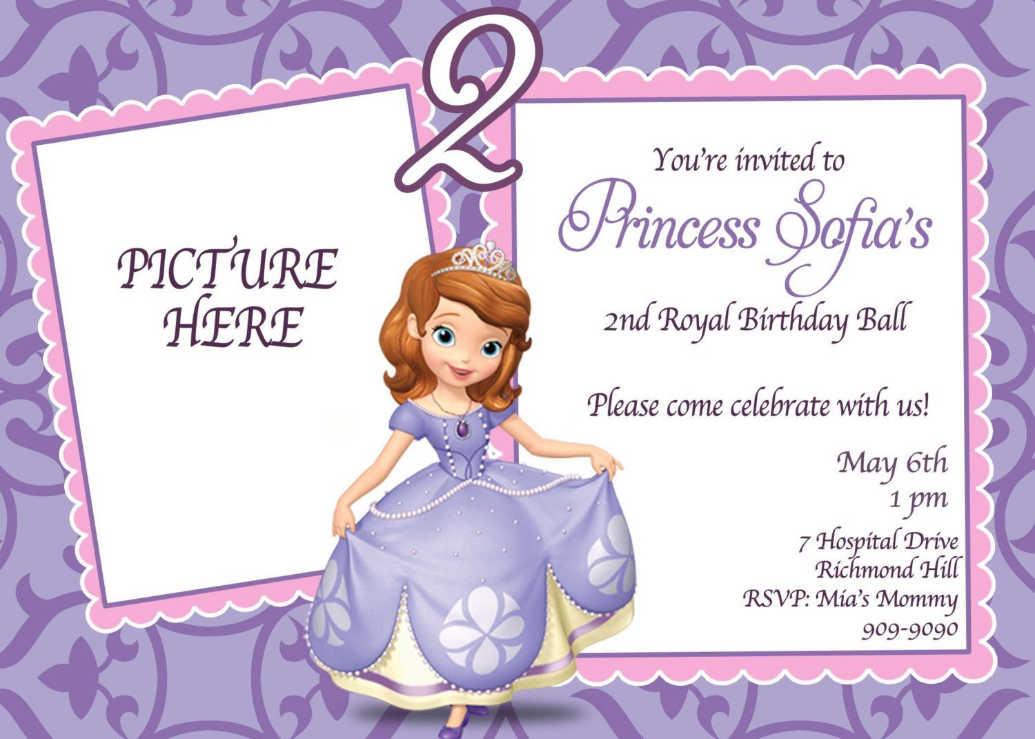 Sofia the First Invitation Templates sofia the First Invitations Templates