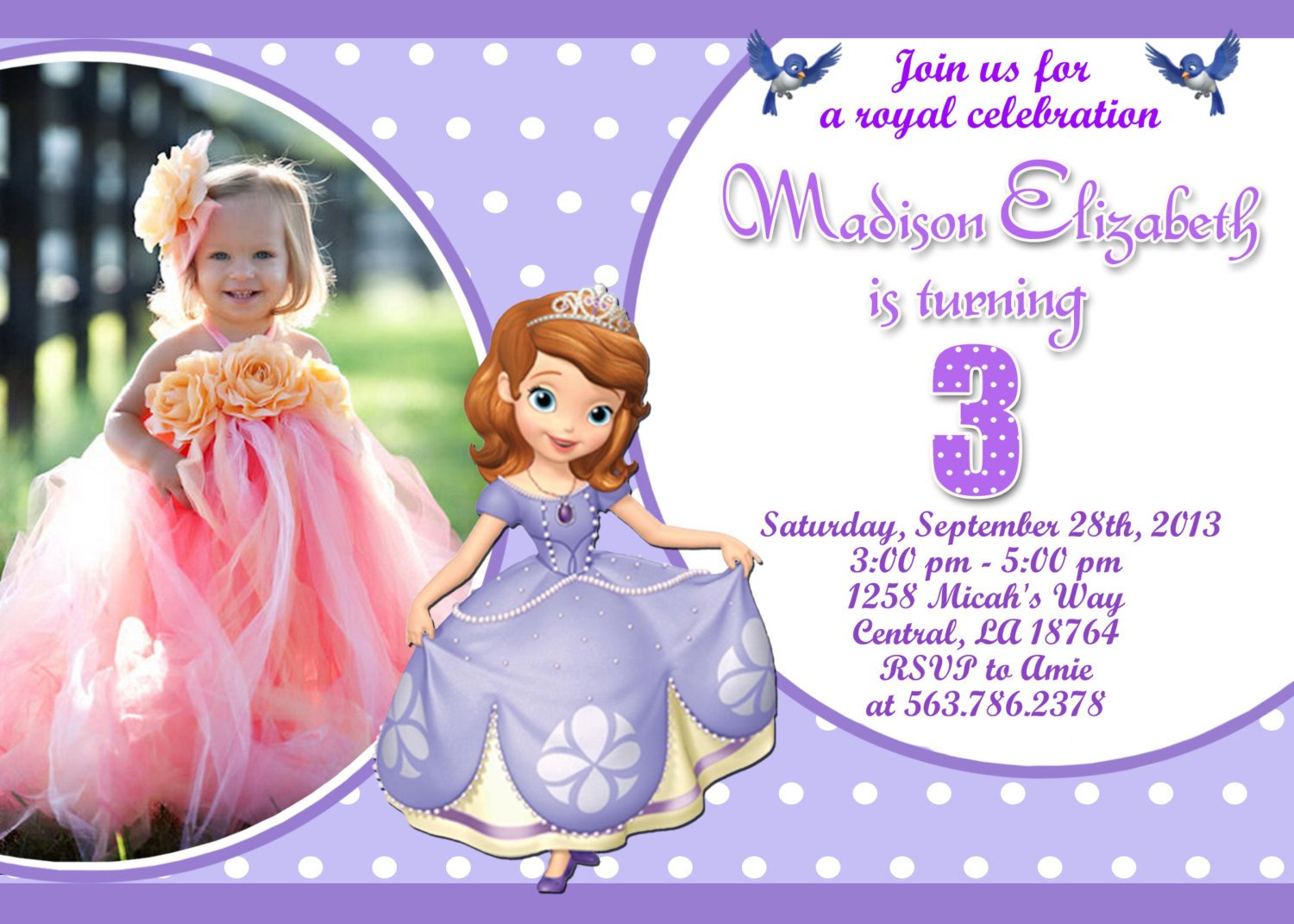 Sofia the First Invitation Templates Unavailable Listing On Etsy