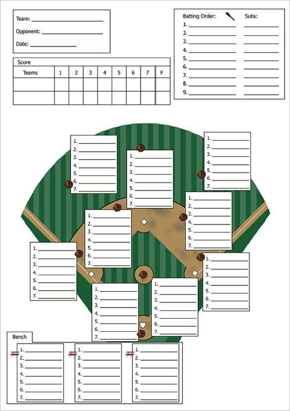 Softball Depth Chart Baseball Line Up Card Template – 9 Free Printable Word