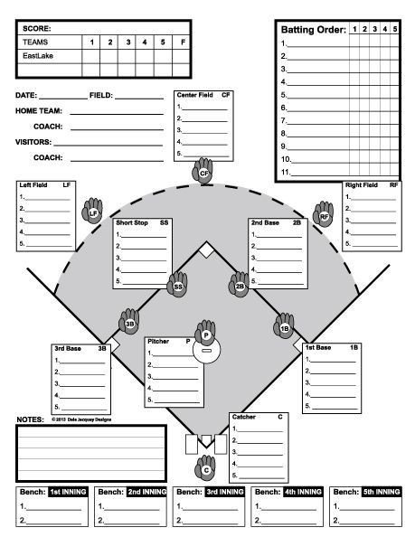 Softball Depth Chart Baseball Line Up Custom Designed for 11 Players Useful