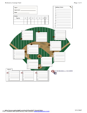 Softball Depth Chart Baseball Lineup Card Template Free Download Printable