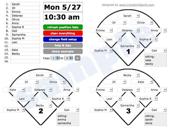 Softball Depth Chart Great Visual for Position Rotation