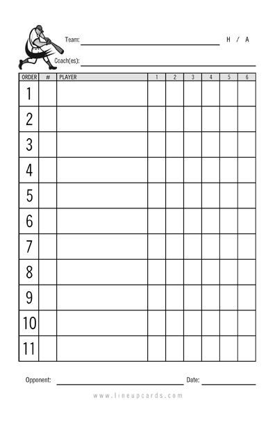 Softball Lineup Template Excel Custom Recreational Baseball League Lineup Cards