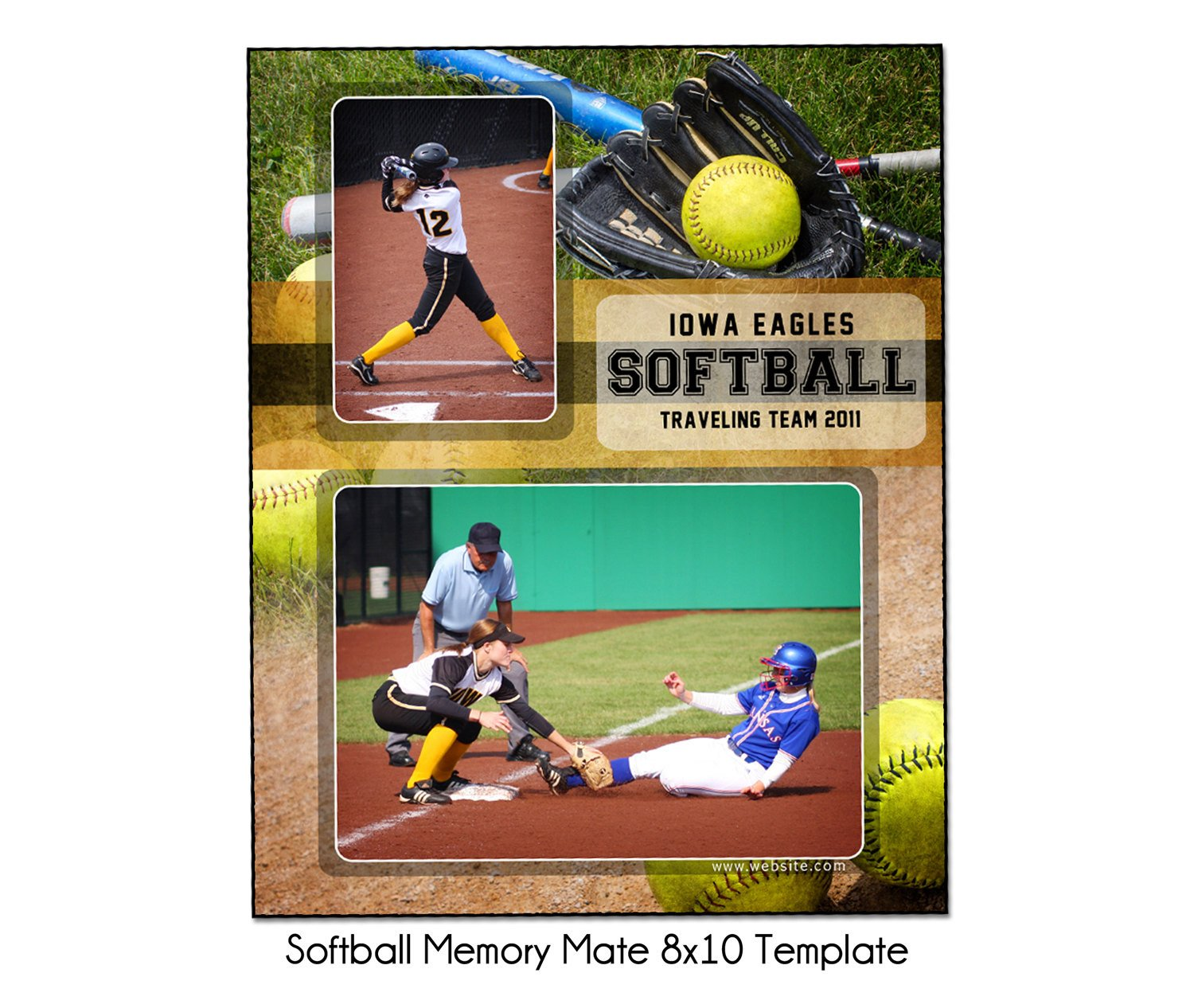Softball Memory Mate Template softball Mm1 8x10 Memory Mate Sports Template