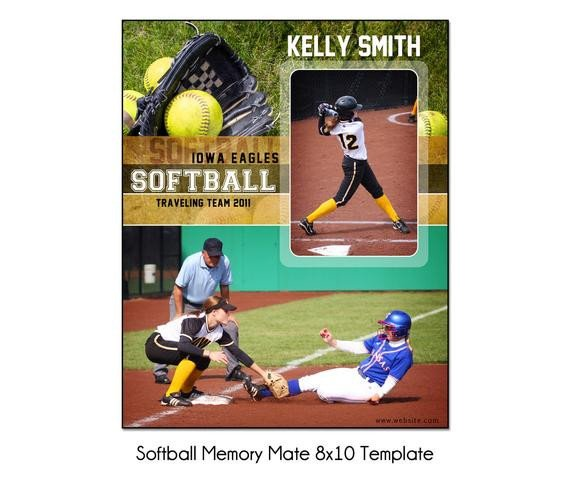 Softball Memory Mate Template softball Mm3 8x10 Memory Mate Sports Template