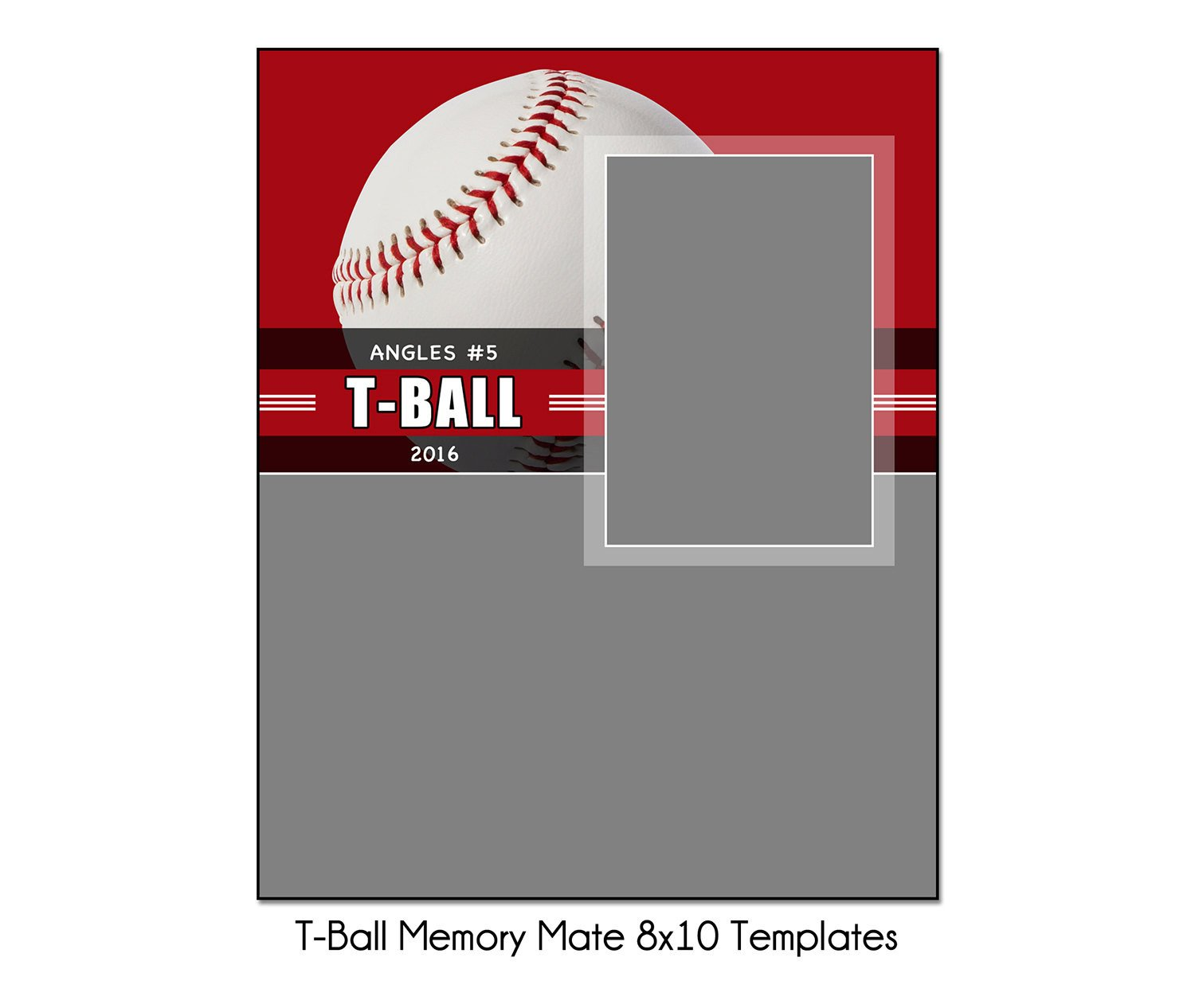 Softball Memory Mate Template T Ball Mm1 8x10 Memory Mate Sports Template Digital