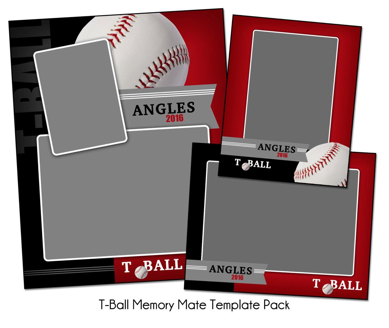 Softball Memory Mate Template T Ball Pack B Memory Mate Sports Templates Digital