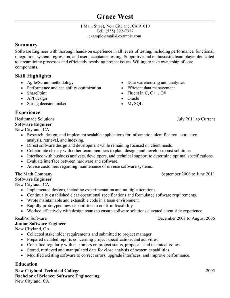 Software Engineering Resume Template Best software Engineer Resume Example