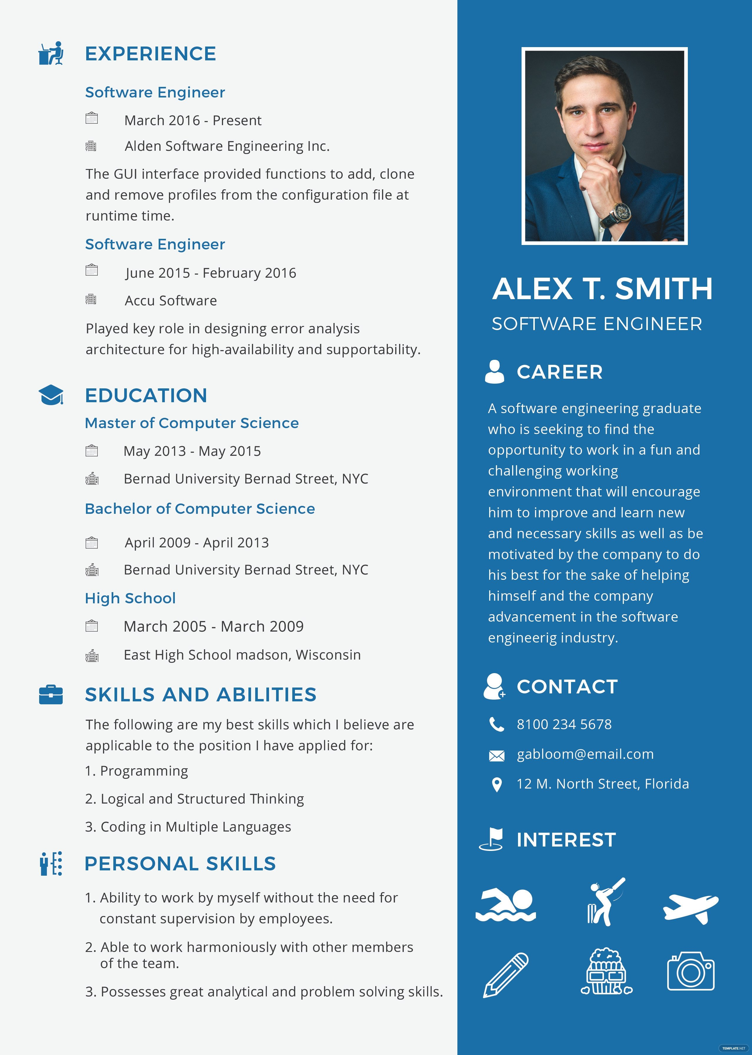 Software Engineering Resume Template Free Resume and Cv for software Engineer Fresher Template