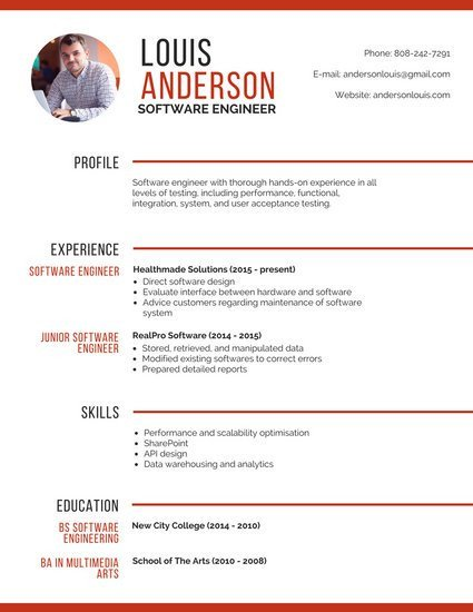 Software Engineering Resume Template Professional software Engineer Resume Templates by Canva