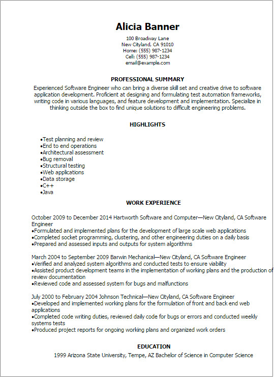 Software Engineering Resume Template Professional software Engineer Resume Templates to