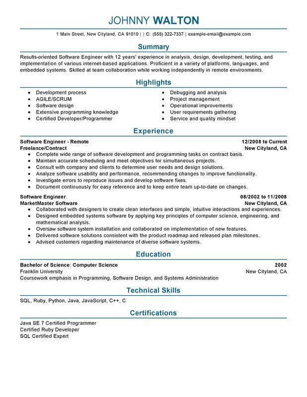 Software Engineering Resume Template Remote software Engineer Resume Examples – Free to Try