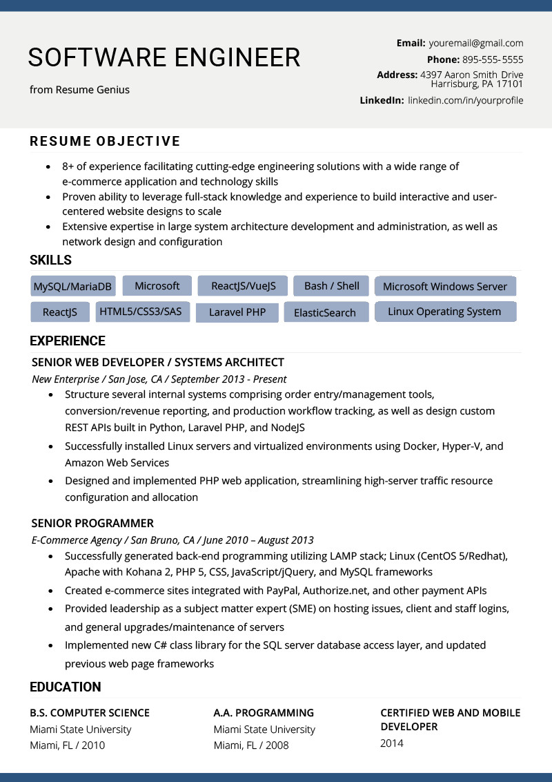 Software Engineering Resume Template software Engineer Resume Example & Writing Tips