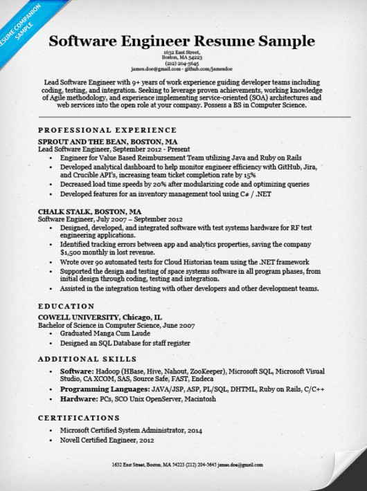 Software Engineering Resume Template software Engineer Resume Sample & Writing Tips