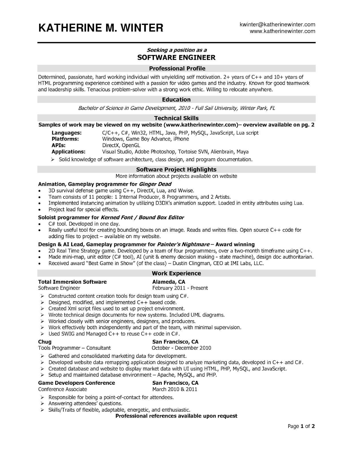 Software Engineering Resume Template software Engineer Resume Samples