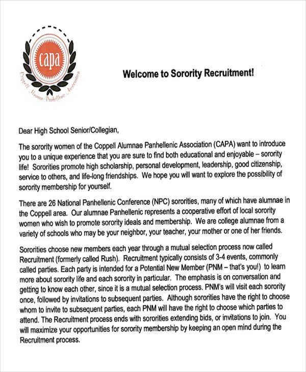 Sorority Recommendation Letter Template 7 Sample sorority Re Mendation Letters Pdf Doc