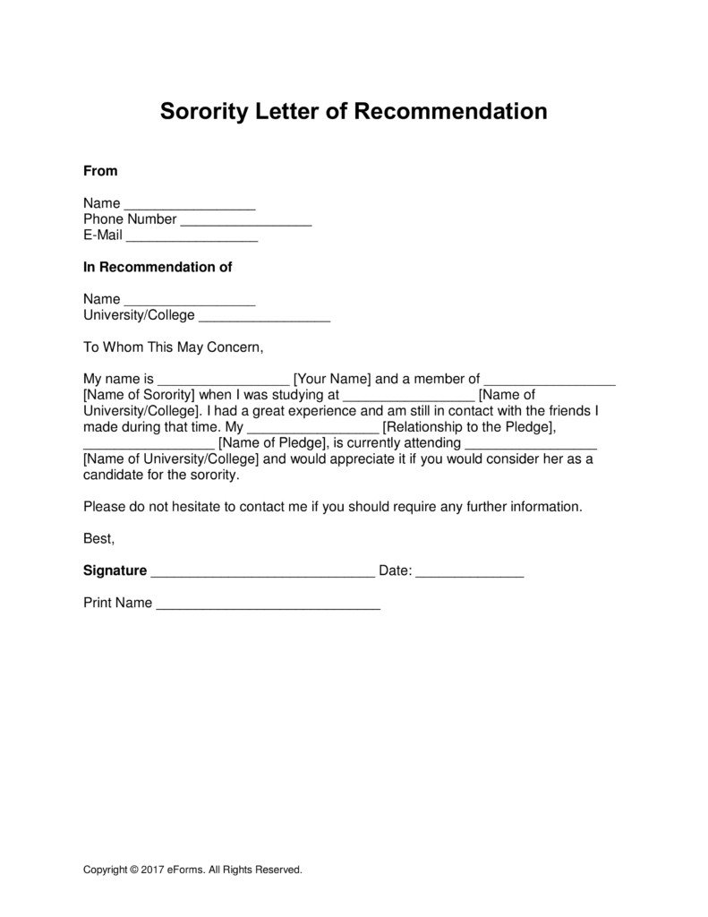 Sorority Recommendation Letter Template Alumni Letter Re Mendation Template Samples