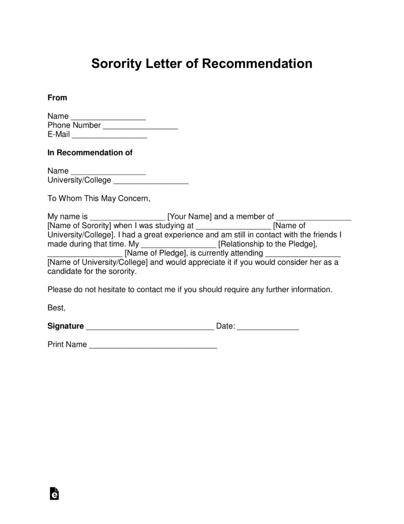 Sorority Recommendation Letter Template Free sorority Re Mendation Letter Template with