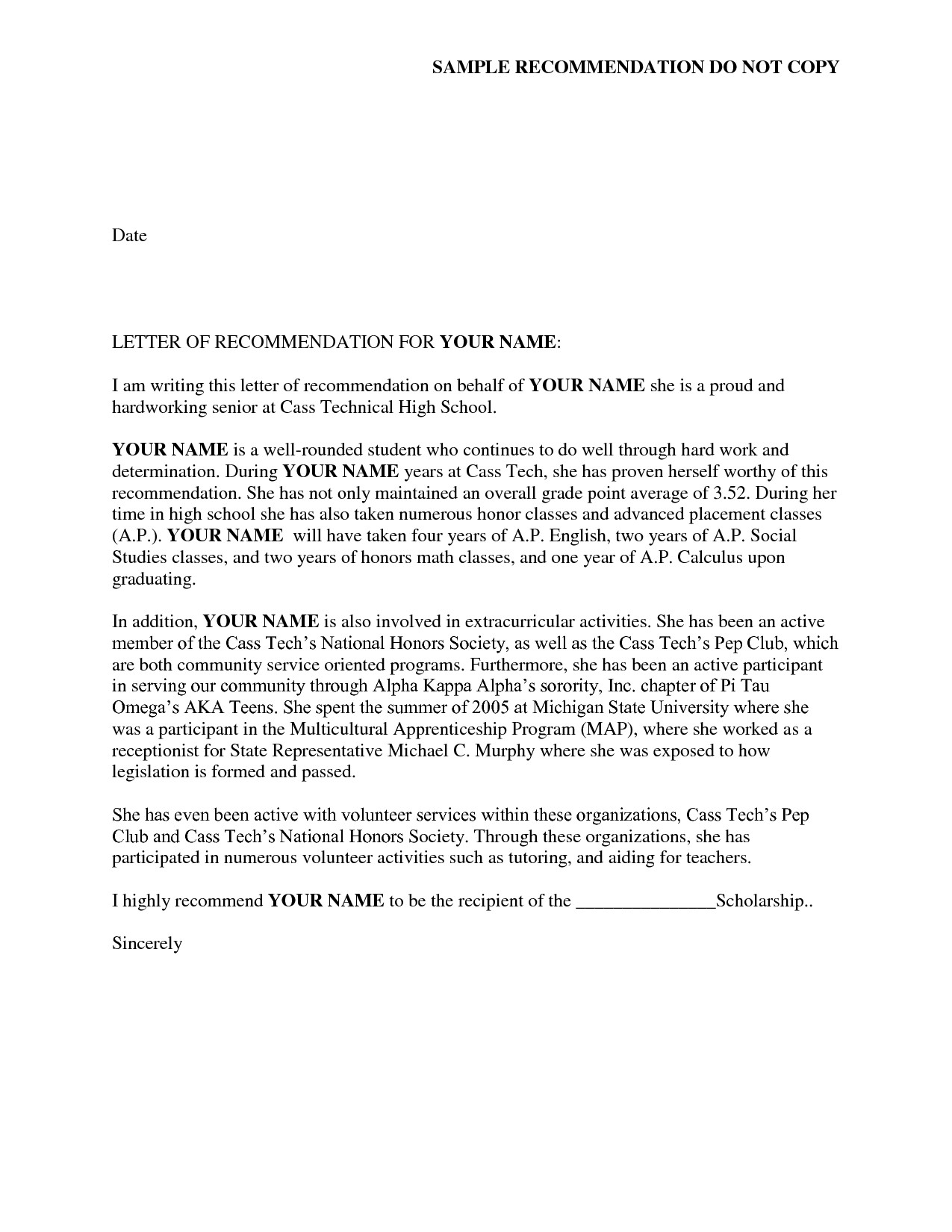 Sorority Recommendation Letter Template Reference Letter Of Re Mendation Sample