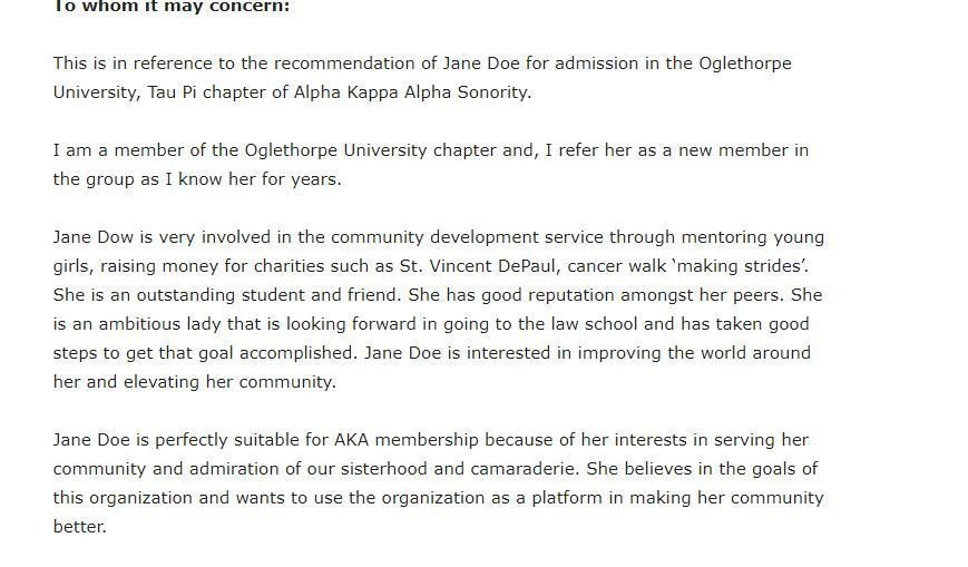 Sorority Recommendation Letter Template Sample Re Mendation Letter for Alpha Kappa Alpha