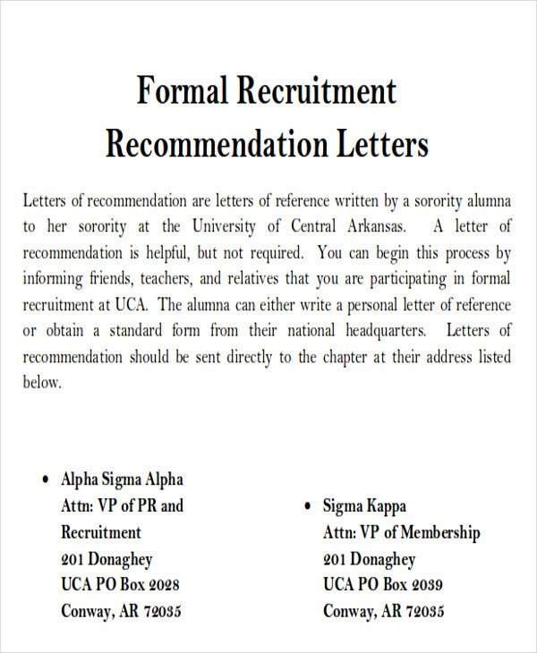 Sorority Recommendation Letter Template Sample sorority Re Mendation Letter 6 Examples In