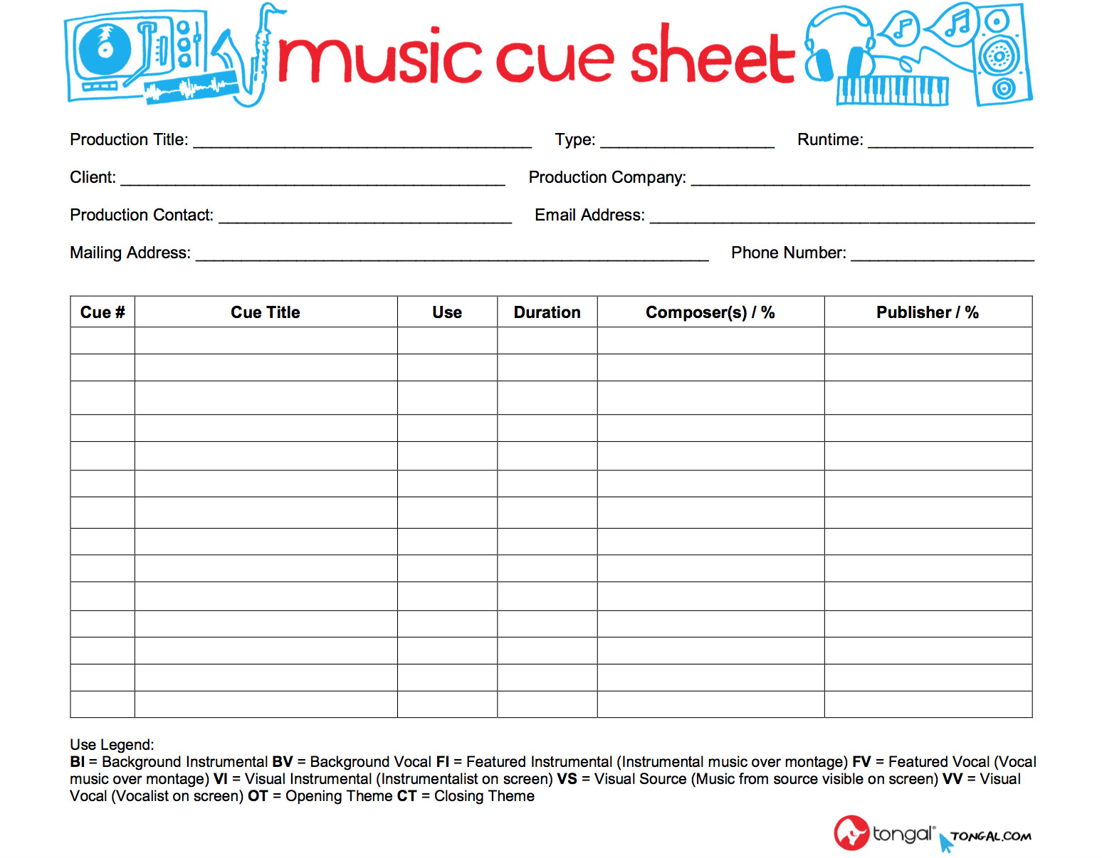 Sound Cue Sheet Template Introducing the tongal Music Cue Sheet tongal
