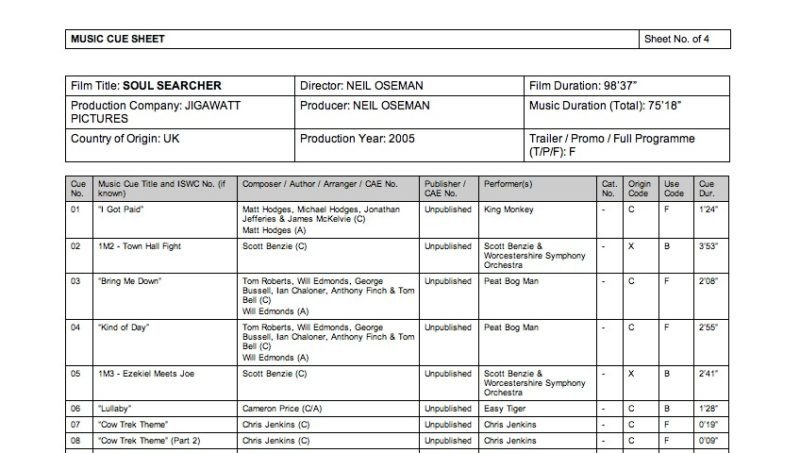 Sound Cue Sheet Template Music Cue Sheet for Film