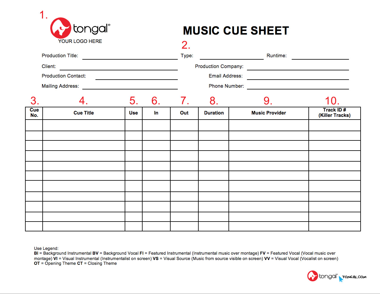 Sound Cue Sheet Template Music Cue Sheet Legend